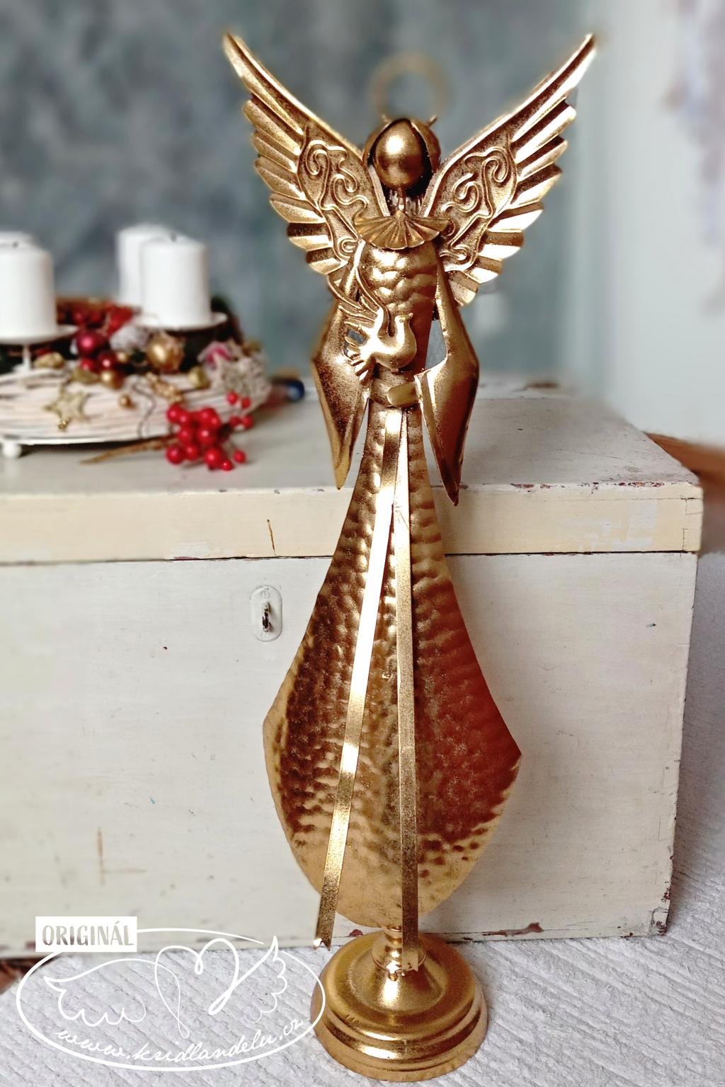 Anděl Vánoční Zlatý ochránce 72cm