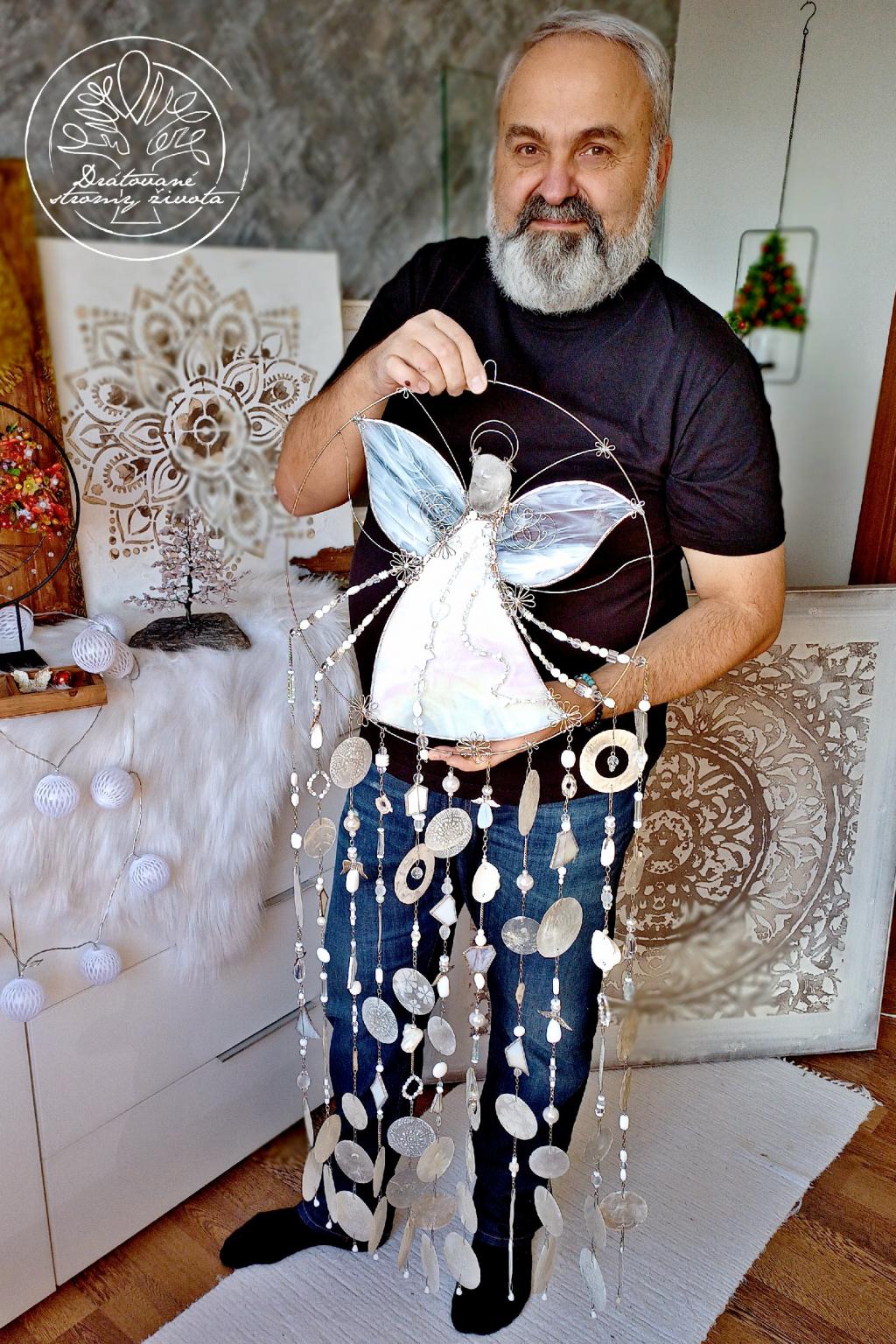 Andělská zvonkohra Tiffany Moudrost a štěstí 40x110cm