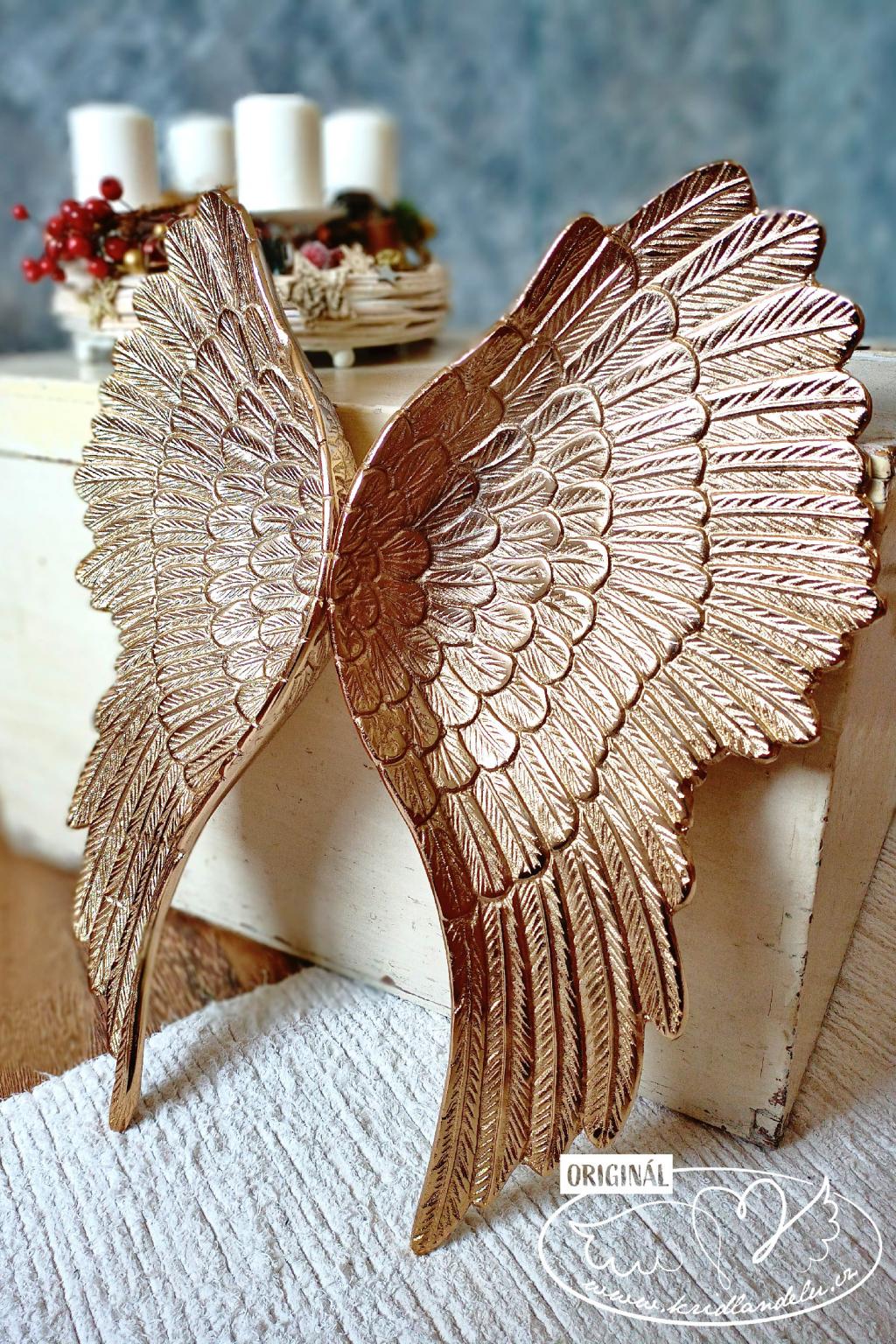 Zlatá andělská mísa - křídlo 1ks 53cm