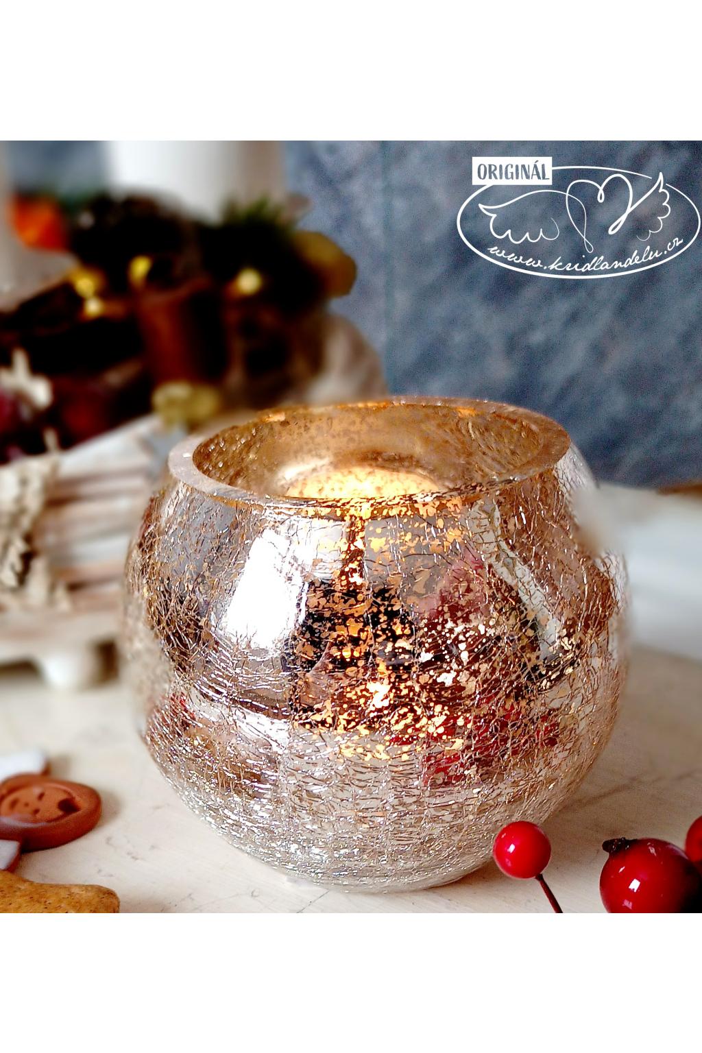 Vánoční světlo - skleněný kraklovaný svícen 12cm