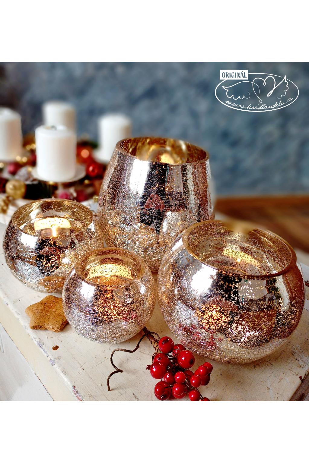 Vánoční světlo - skleněný kraklovaný svícen 10cm