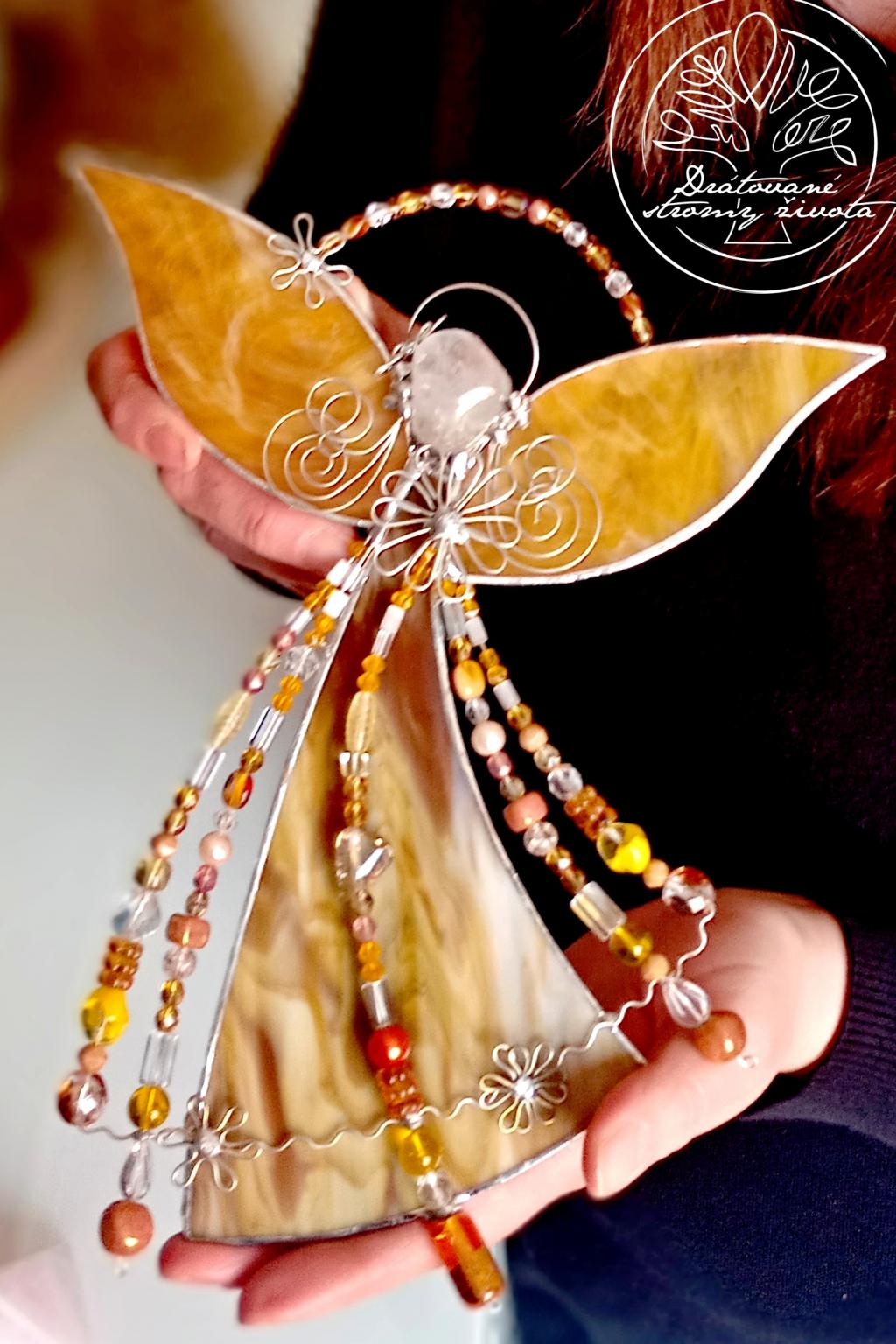 Andělská vitráž  Jantarový léčitel 25cm