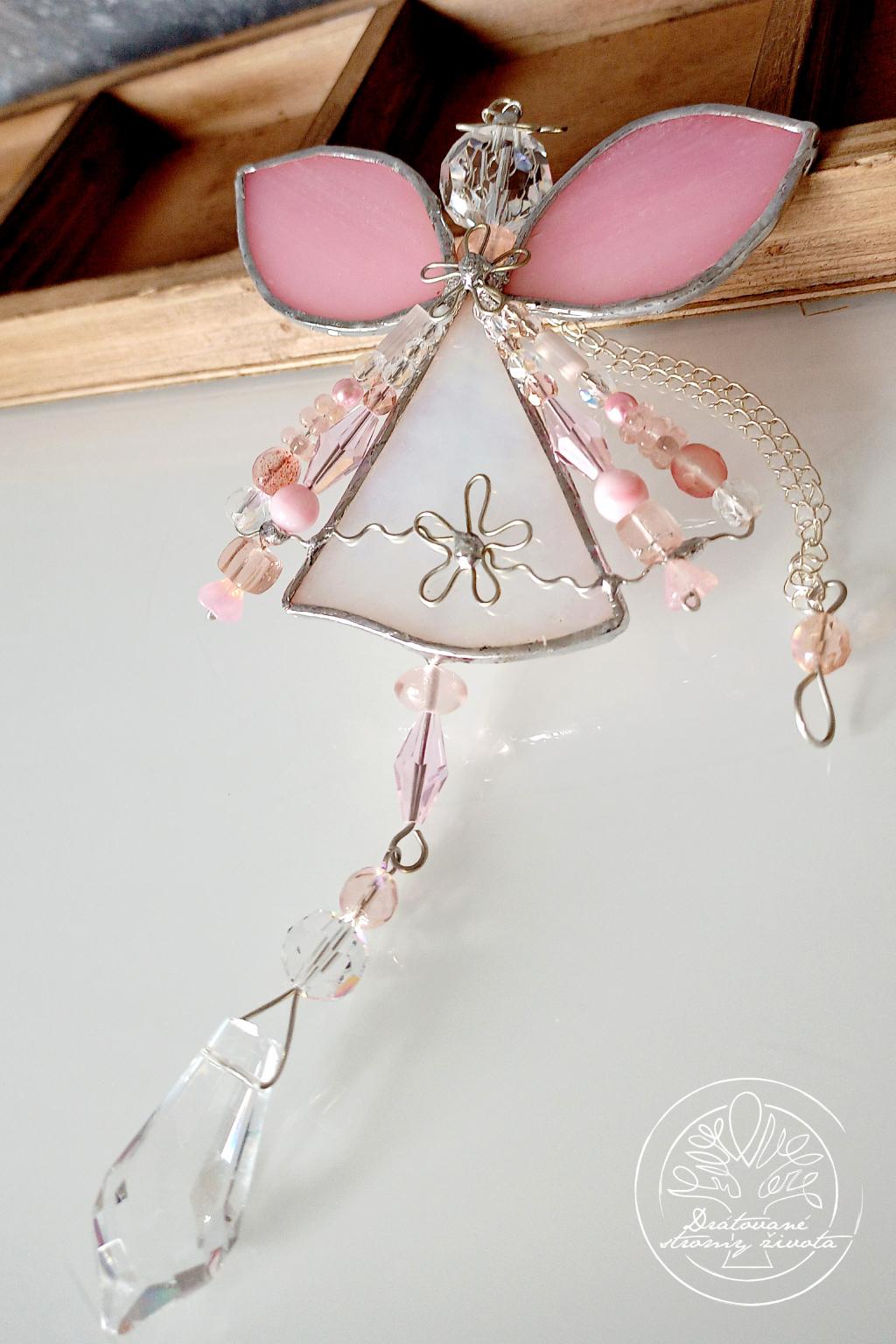 Andělská vitráž - něžný světlonoš 36cm
