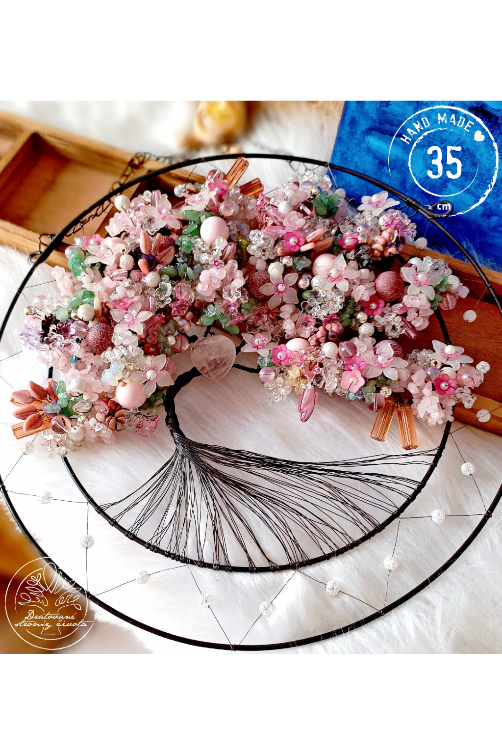 Strom života Polodrahokamy  Laskavé srdce 35cm
