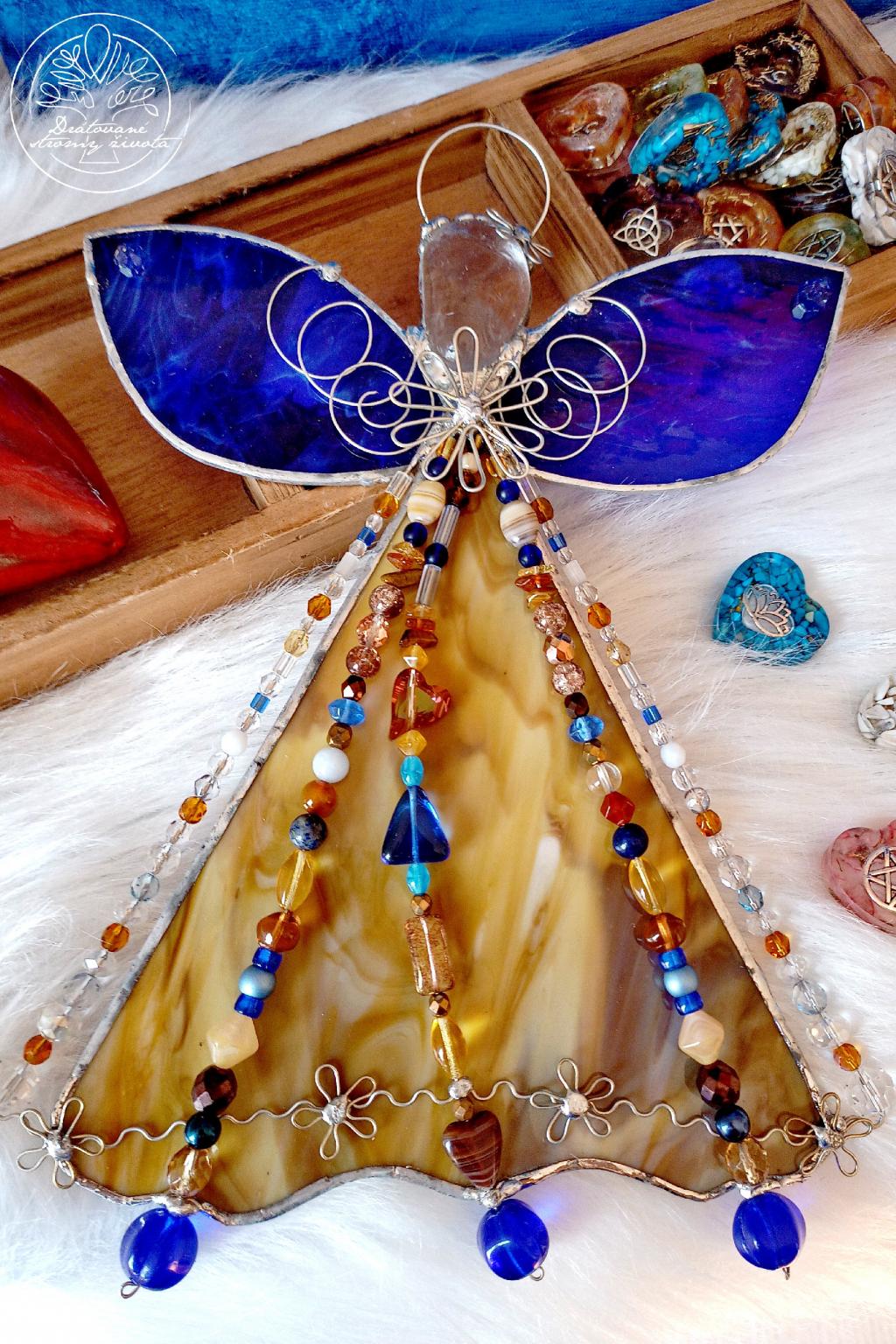 Andělská vitráž Raduj se se mnou 30cm