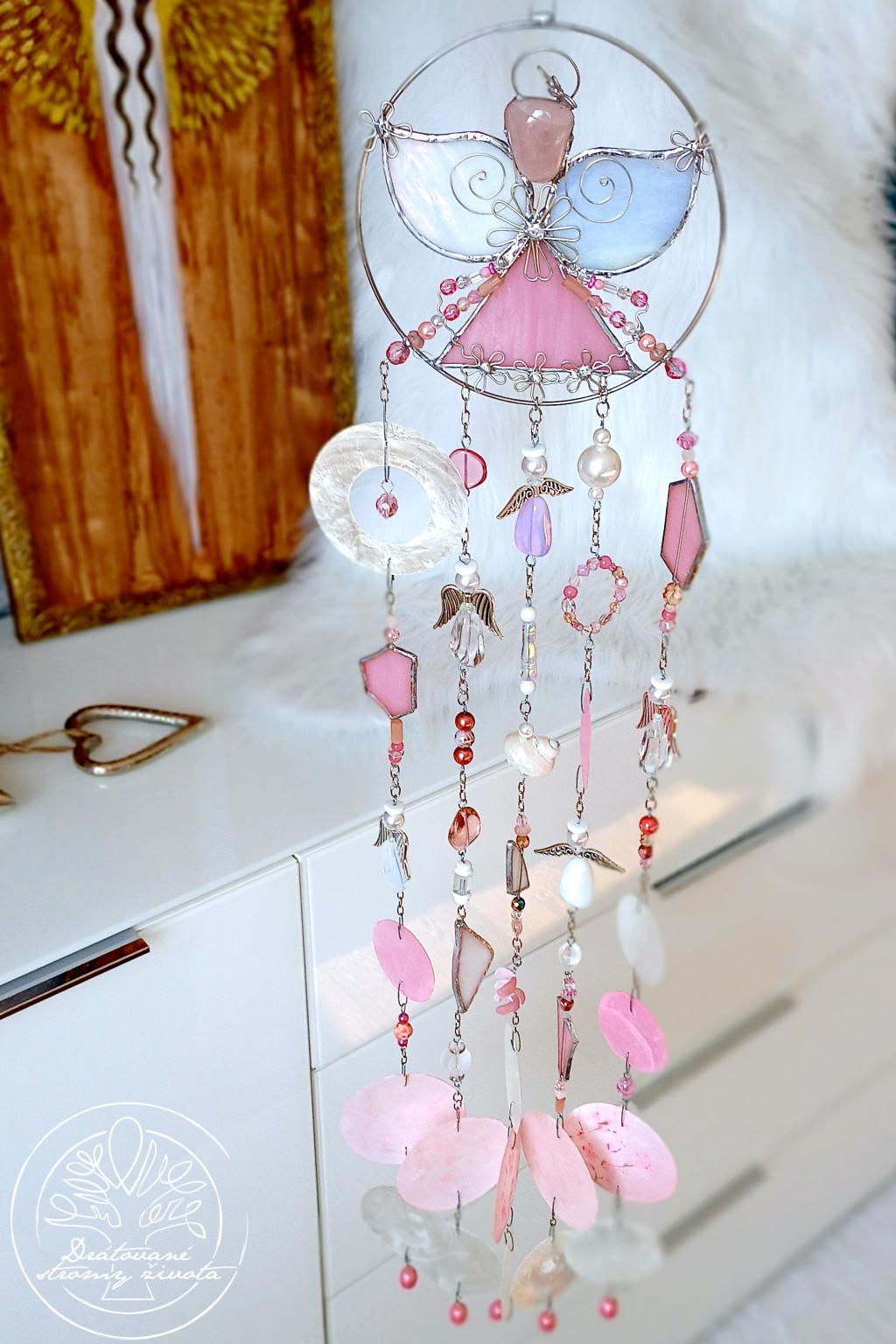 Andělská zvonkohra Tiffany Jemnost a láska 50cm