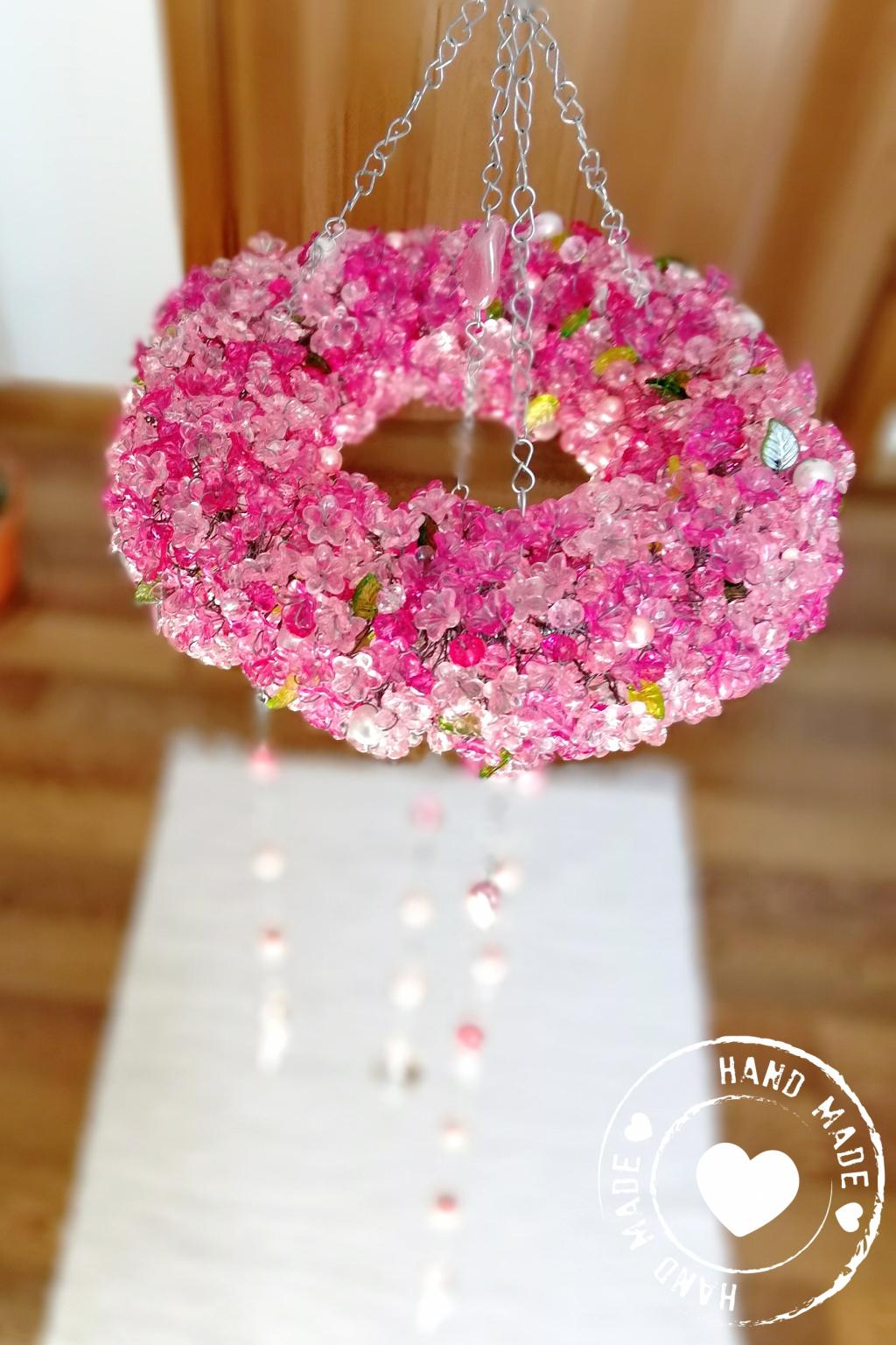 Drátovaná zvonkohra křišťálové zvonění růžové 20x76cm