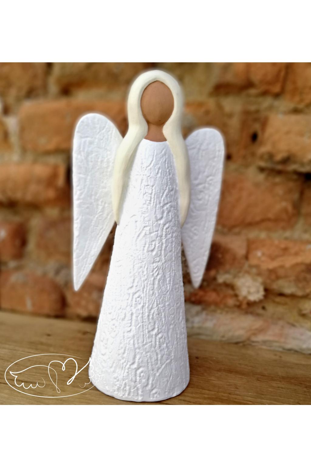 Anděl keramický - nebeský posel 30cm