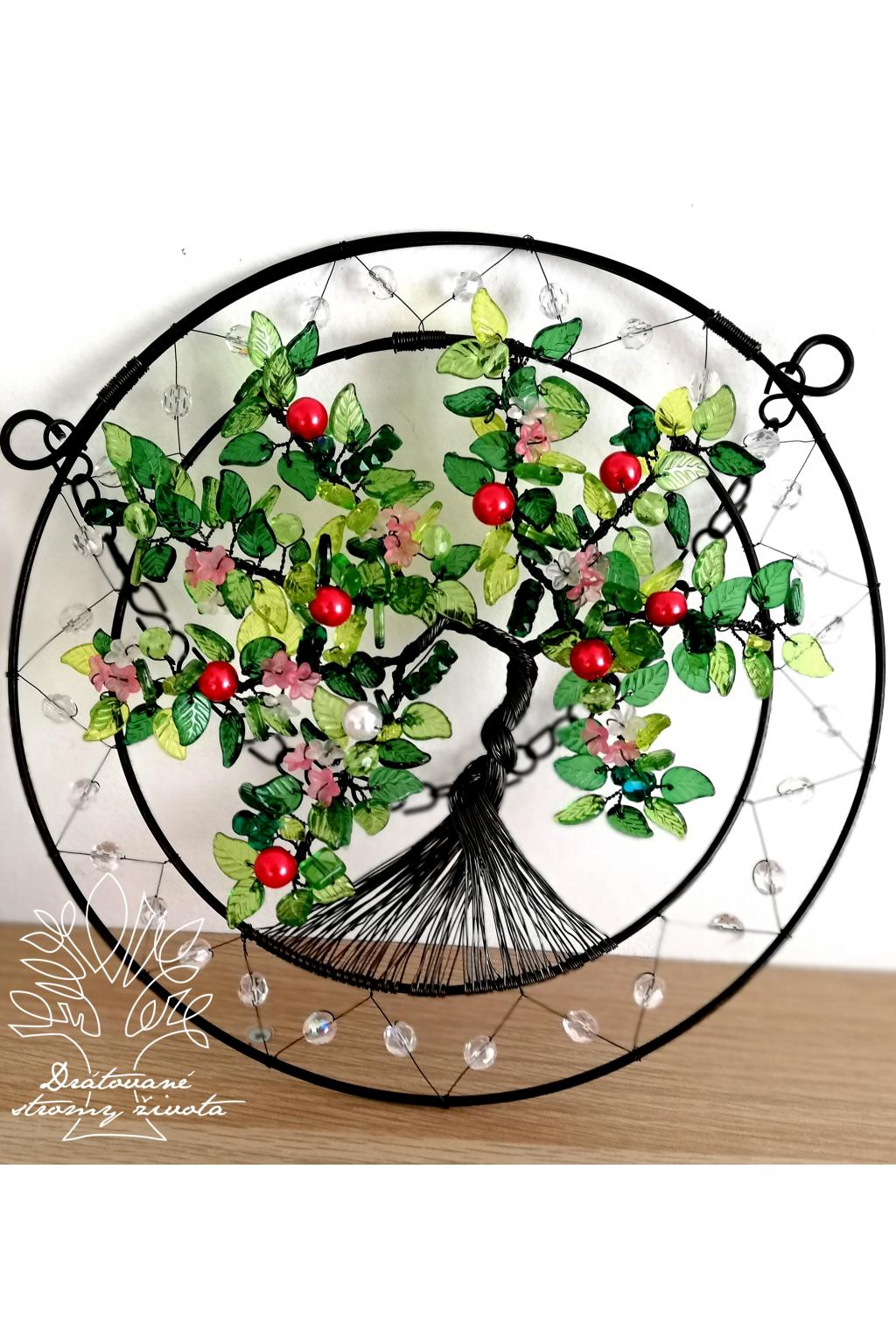Drátovaný strom - Jablíčka z podzimní zahrádky 22cm