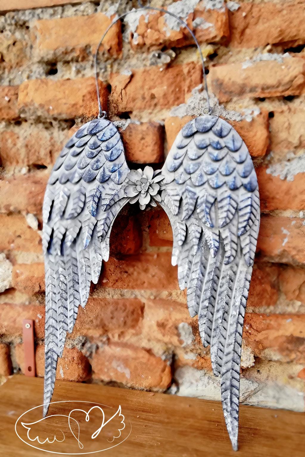 Andělská křídla  - Andělské stříbrné perutě z kovu 47,5cm