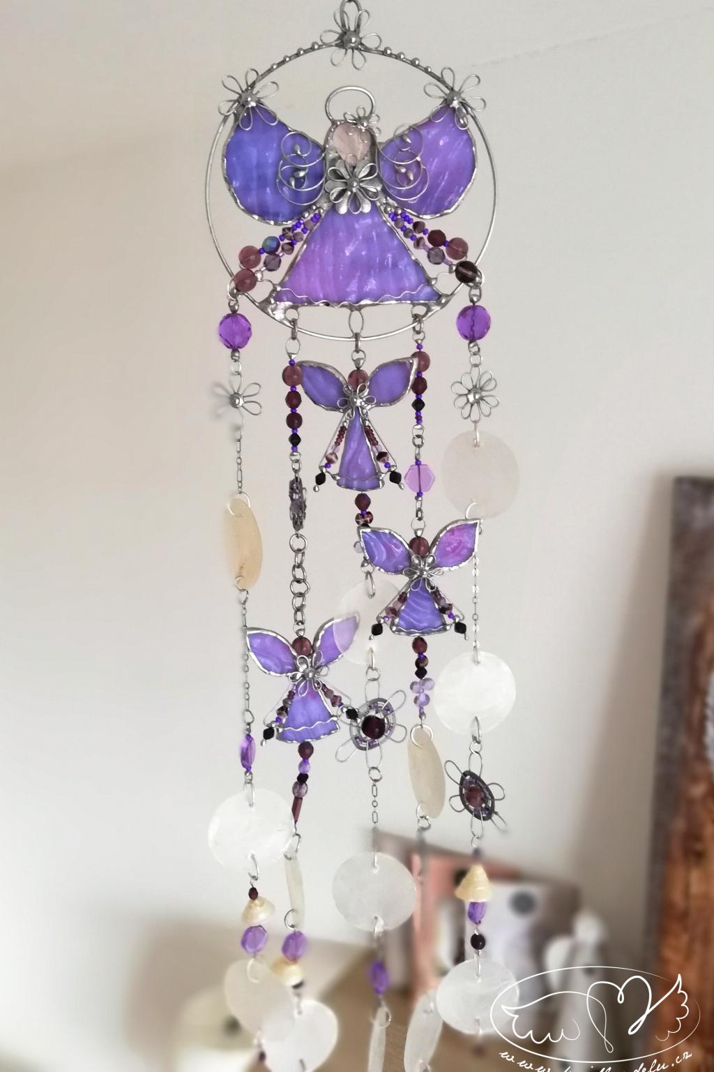 Andělská zvonkohra Tiffany s růženínem 50cm