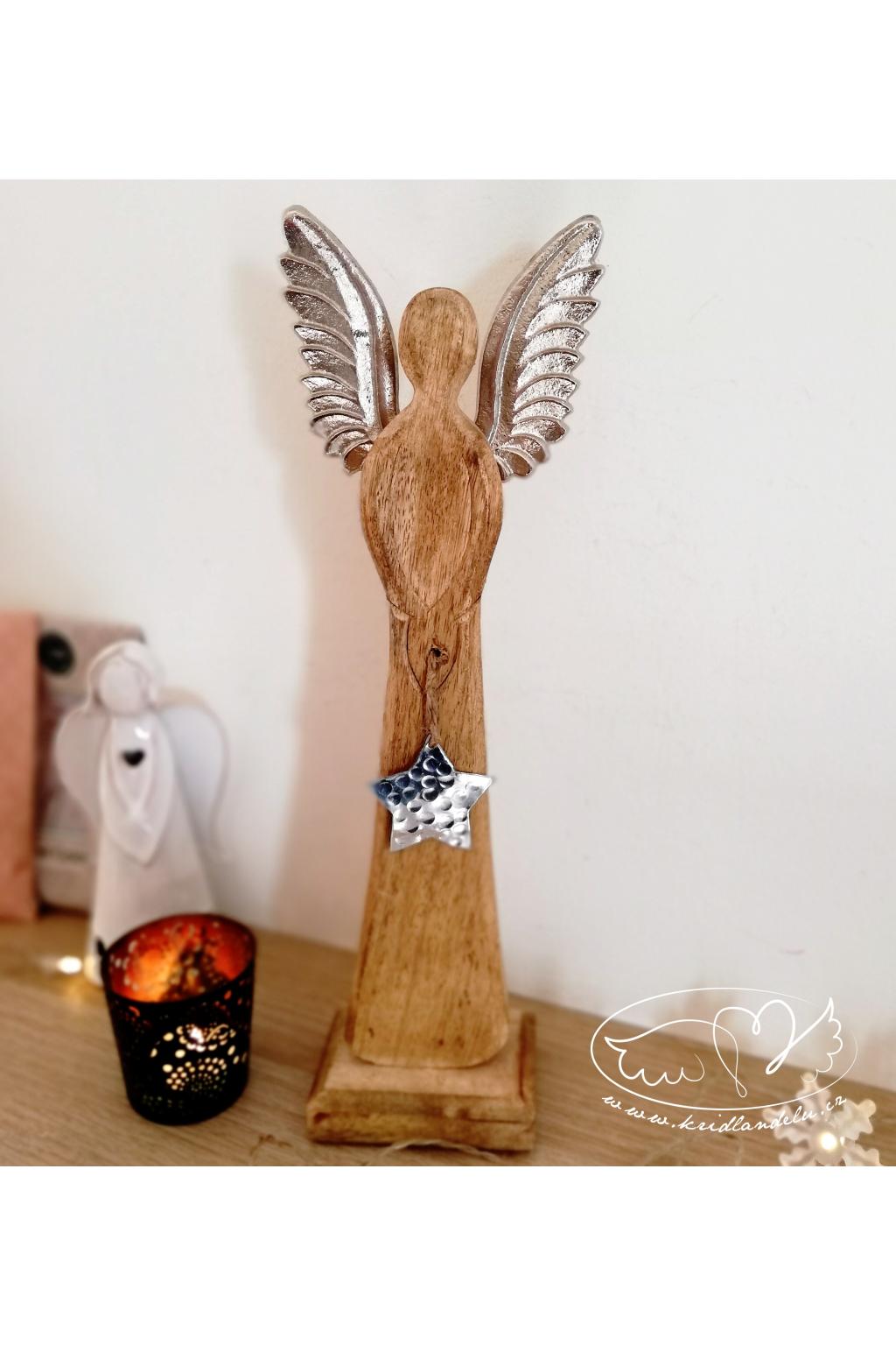 Anděl kovový - Nebeský posel světla 37cm