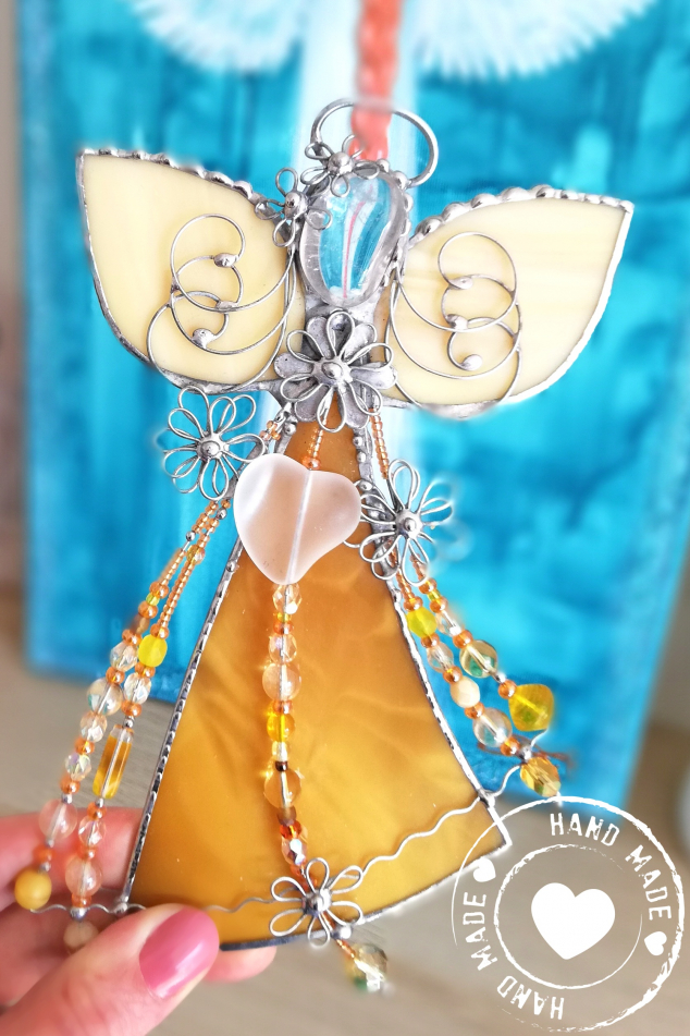Andělská vitráž - Jantarový kouzelník 19cm