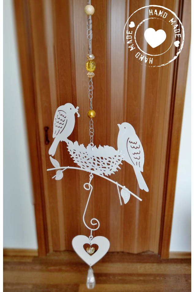 Závěs s ptáčky a srdcem Swarovski - Jantarový 55cm