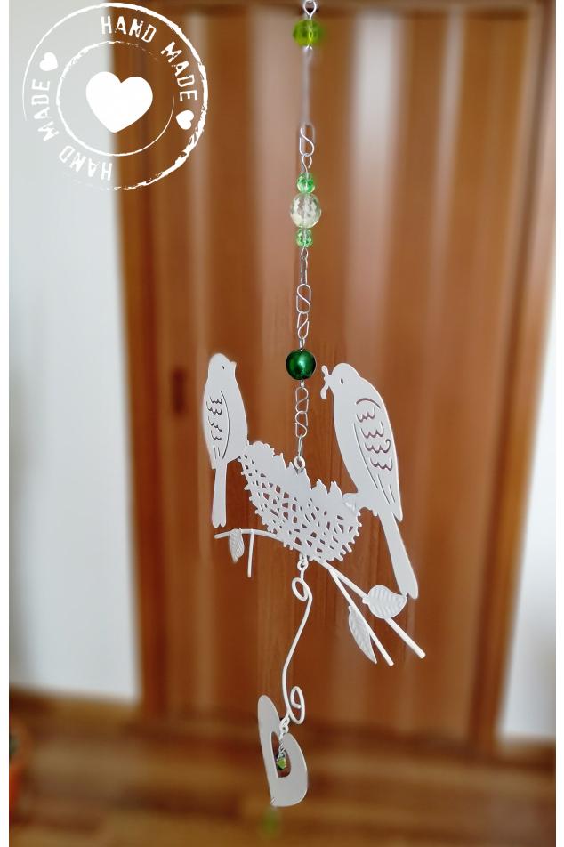 Závěs s ptáčky a srdcem Swarovski - Zelený 55cm