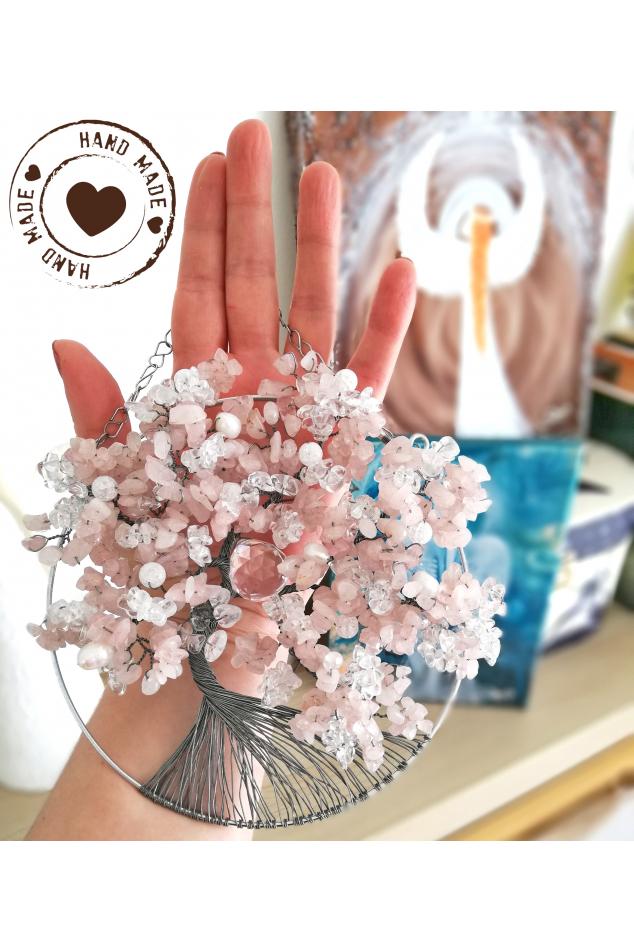 Drátovaný strom - Růženínový Něha a láska 15cm