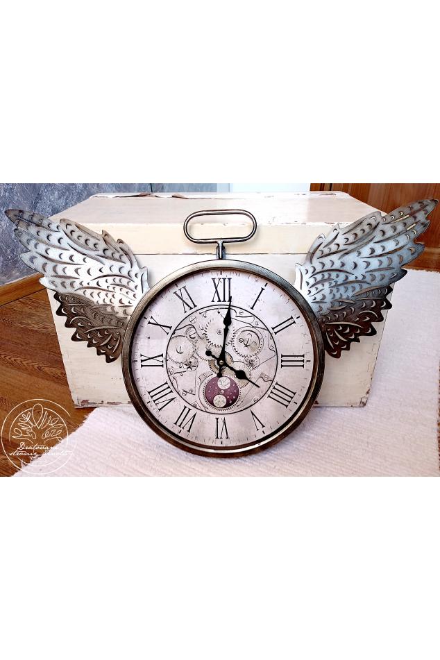 Andělské nástěnné hodiny 72x45cm