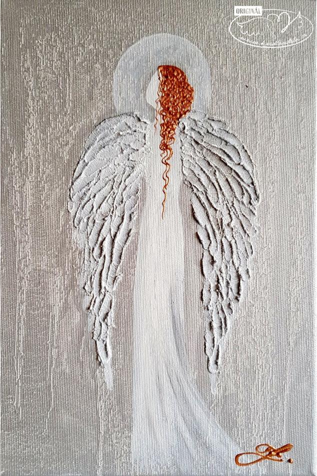 30x20 1900Kč Olej na plátně + stříbrná a měděná barva + reliéf