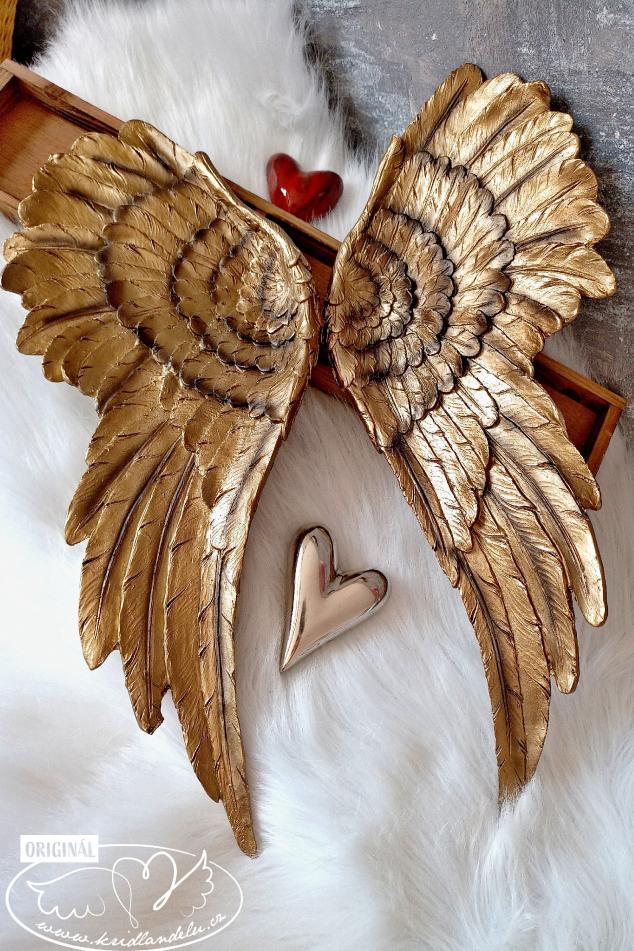 Andělská křídla pár - Zlatá záře andělů 55x40cm