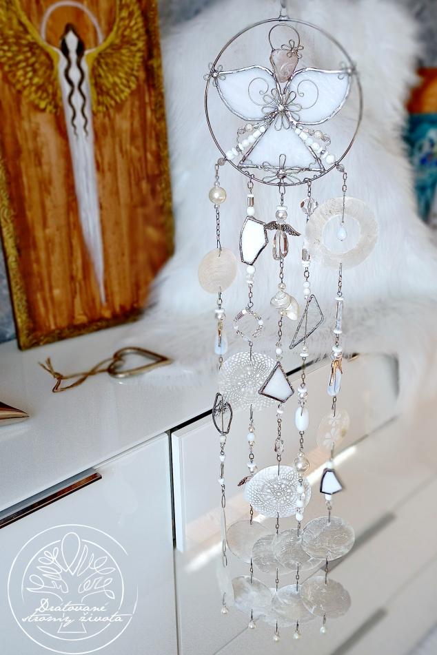 Andělská zvonkohra Tiffany Moudrost a štěstí 50cm