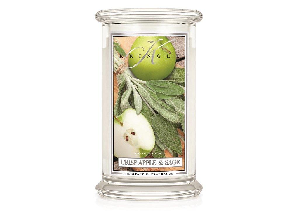 Kringle Candle Crisp Apple & Sage vonná sviečka veľká 2-knôtová (624 g)