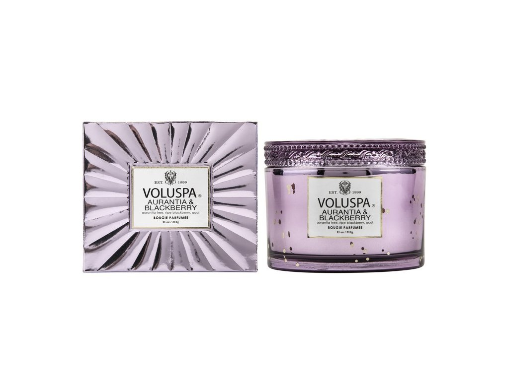 Voluspa Vermeil Aurantia & Blackberry 11 oz Corta Maison Glass Candle w/ Lid BOXED