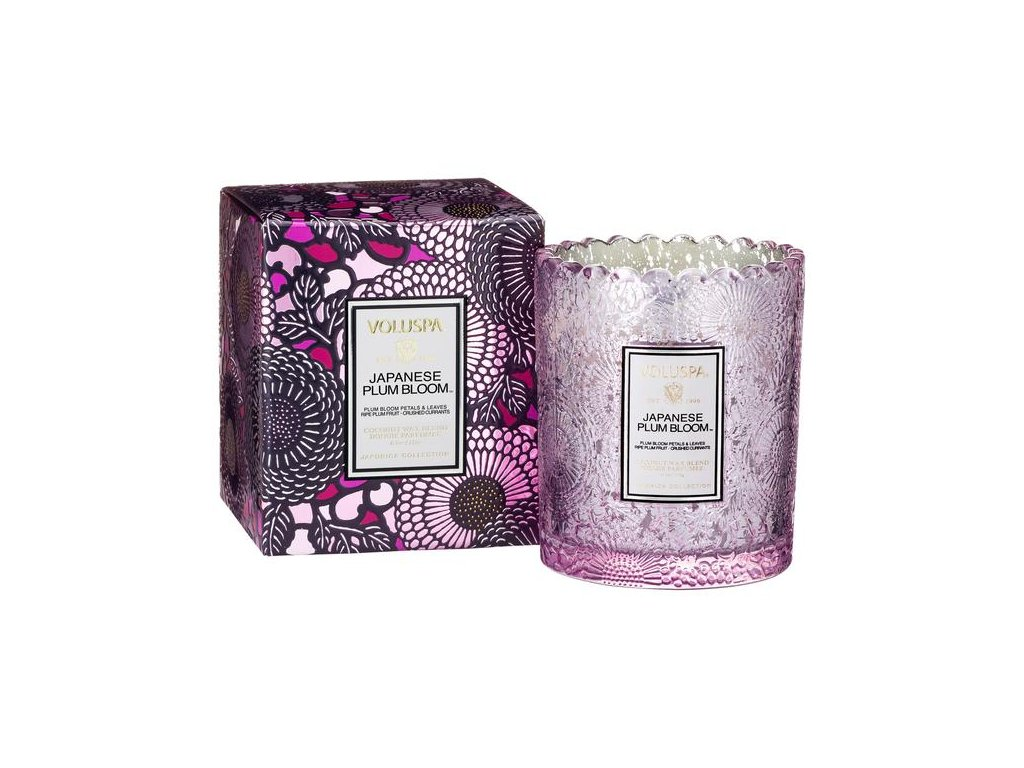 Voluspa Japonica Boxed Scalloped Candlepot Japanese Plum Bloom