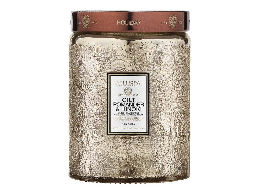 Voluspa Japonica Holiday Gilt Pomander & Hinoki Large Jar vonná sviečka (18oz / 510g)