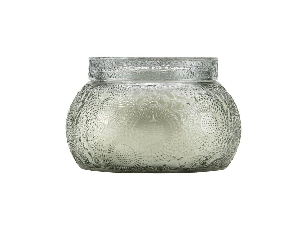 Voluspa Japonica French Cade Lavender Embossed, Tinted Glass Chawan Bowl w/ Lid
