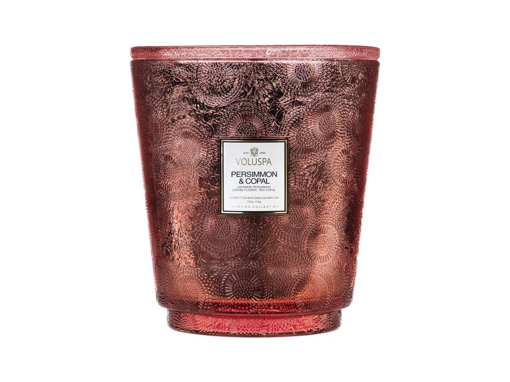 Voluspa Japonica PERSIMMON AND COPAL 123 oz Hearth Candle with Lid/Tray