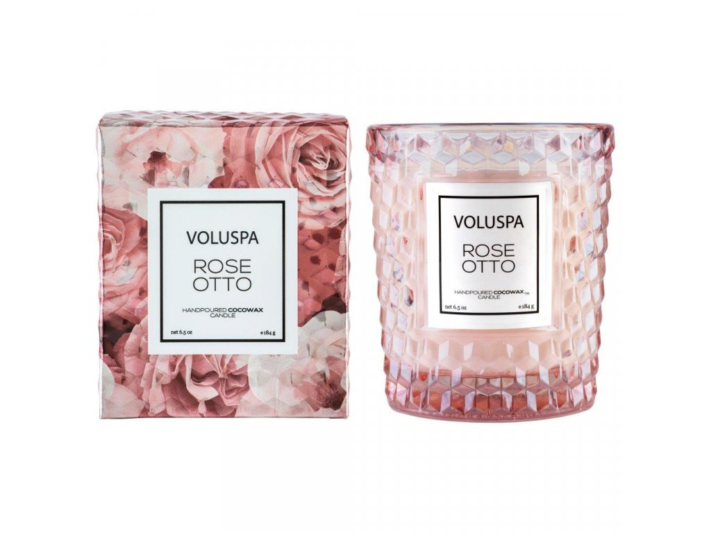 Voluspa Roses Rose Otto Classic Candle in Textured Glass