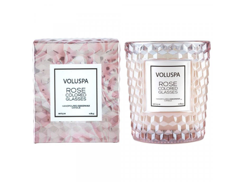 Voluspa Roses Rose Colored Glasses Classic Candle in Textured Glass