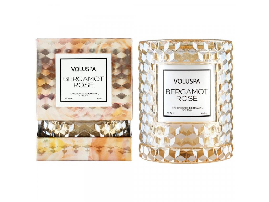 Voluspa Roses Bergamot Rose Icon Candle with Cloche Cover