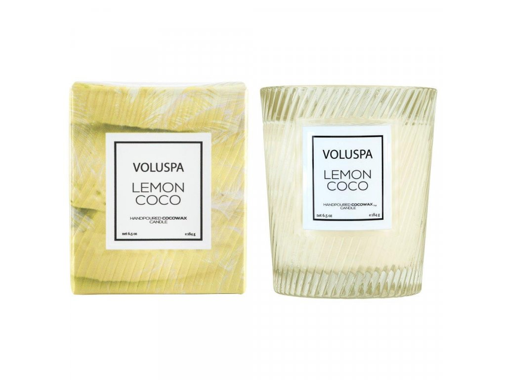 Voluspa Macaron Lemon Coco Classic Candle in Textured Glass