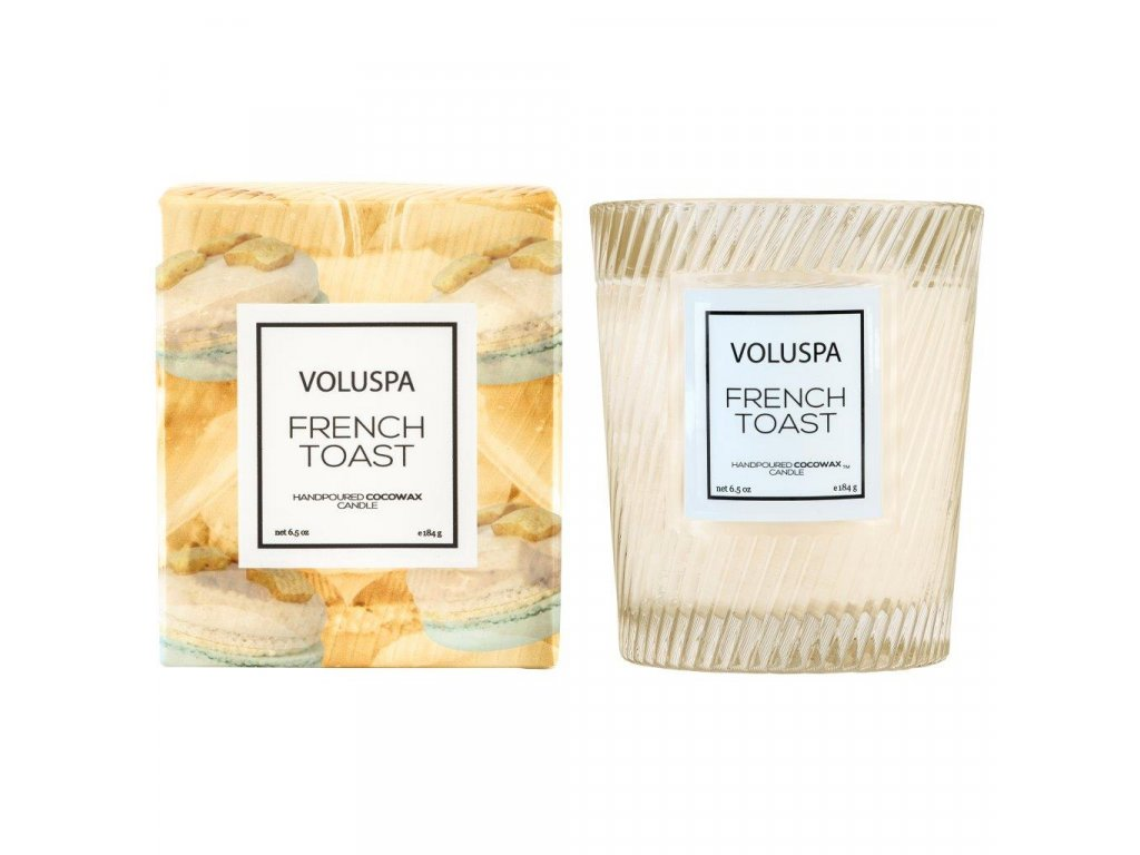 Voluspa Macaron French Toast Classic Candle in Textured Glass