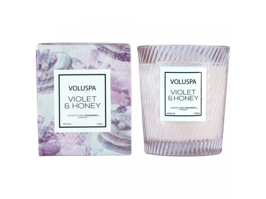 Voluspa Macaron Violet & Honey Classic Candle in Textured Glass