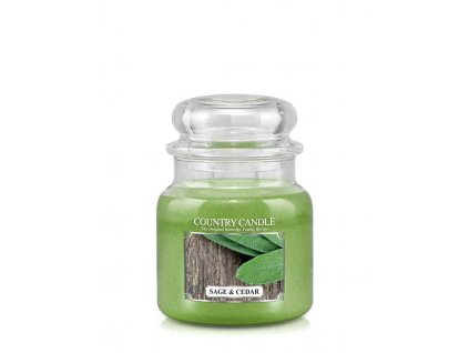 COUNTRY CANDLE Sage & Cedar vonná sviečka stredná 2-knôtová (453 g)