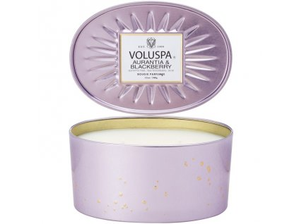 Voluspa Vermeil Aurantia & Blackberry 2 Wick Candle In Decorative Oval Tin