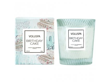 Voluspa Macaron Birthday Cake Classic Candle in Textured Glass