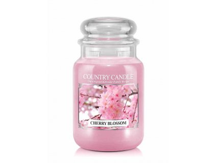 Country Candle Cherry Blossom vonná sviečka veľká 2-knôtová (652 g) ZAFARBENÝ VOSK