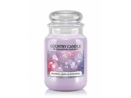 Country Candle Snowflakes Glistening vonná sviečka veľká 2-knôtová (652 g) ZAFARBENÝ VOSK