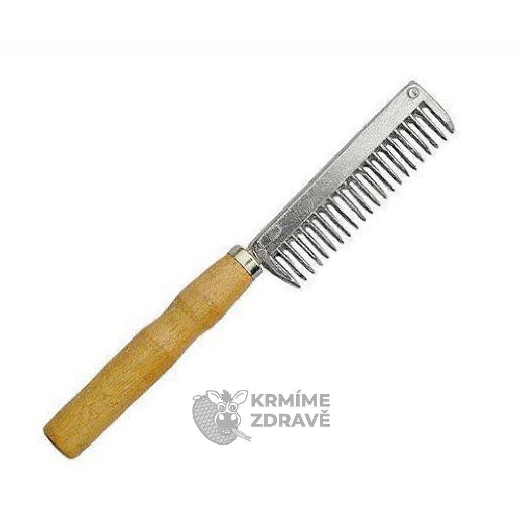 Hřeben kovový s dřevěnou rukojetí