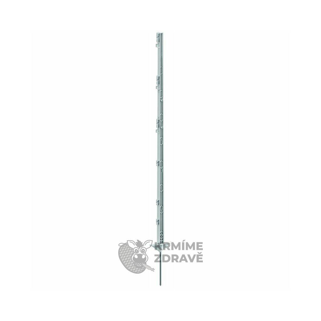 Tyč ohradníková umělohmotná 125cm/jednoduchý hrot/2 nášlapky/bílá