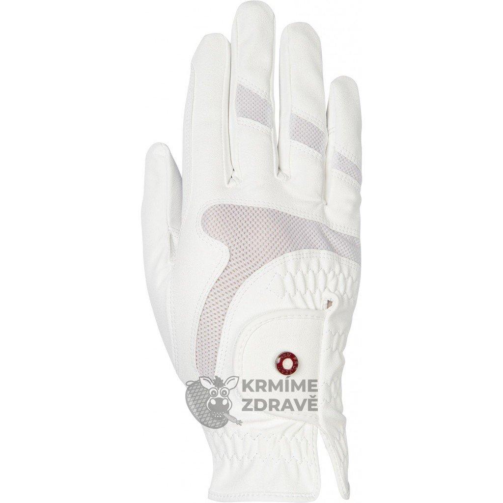 Jezdecké rukavice Professional Air Mesh- Bílé