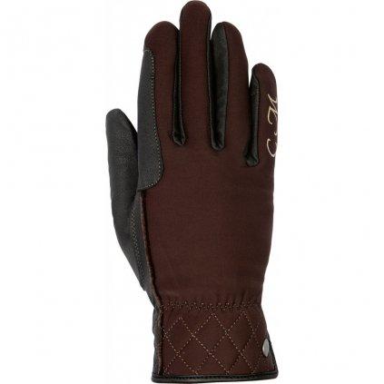 Jezdecké softshellové rukavice Velluto Hnědé