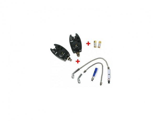 NGT 2x Hlásič Bite Alarm VX2 + 2x Řetízkový Swinger + 2x baterky ZDARMA!!! + dárek rybářský nůž zdarma