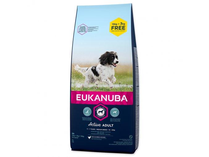 EUKANUBA Puppy & Junior Medium Breed - BONUS  (18kg)  15+3kg zdarma