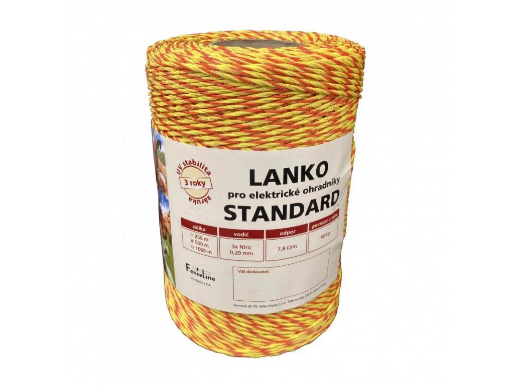 Lanko STANDARD pro el. ohradník, 3x0,20 mm Niro, žluto-oranž., 500 m