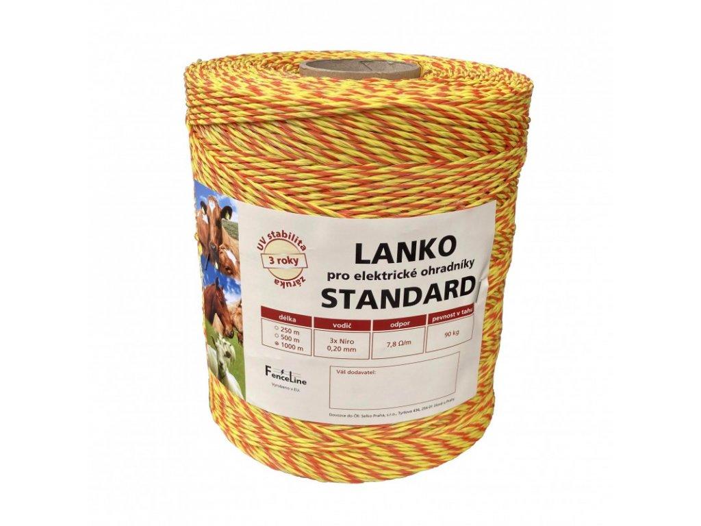Lanko STANDARD pro el. ohradník, 3x0,20 mm Niro, žluto-oranž., 1000 m