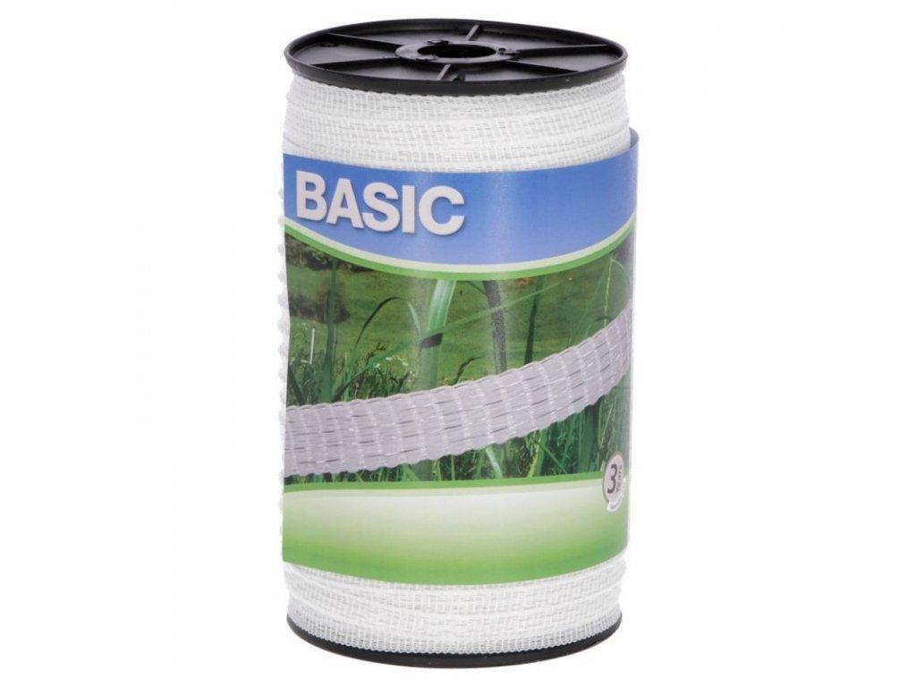 Páska BASIC pro el. ohradník, 10 mm x 200 m, 4x 0,16 mm, bílá